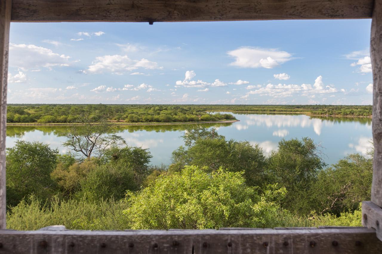 La vista desde el mirador de la Laguna Campo María, que se encuentra a una altura considerable y permite la observación de aves y una vista panorámica de las lagunas. (Tetsu Espósito).