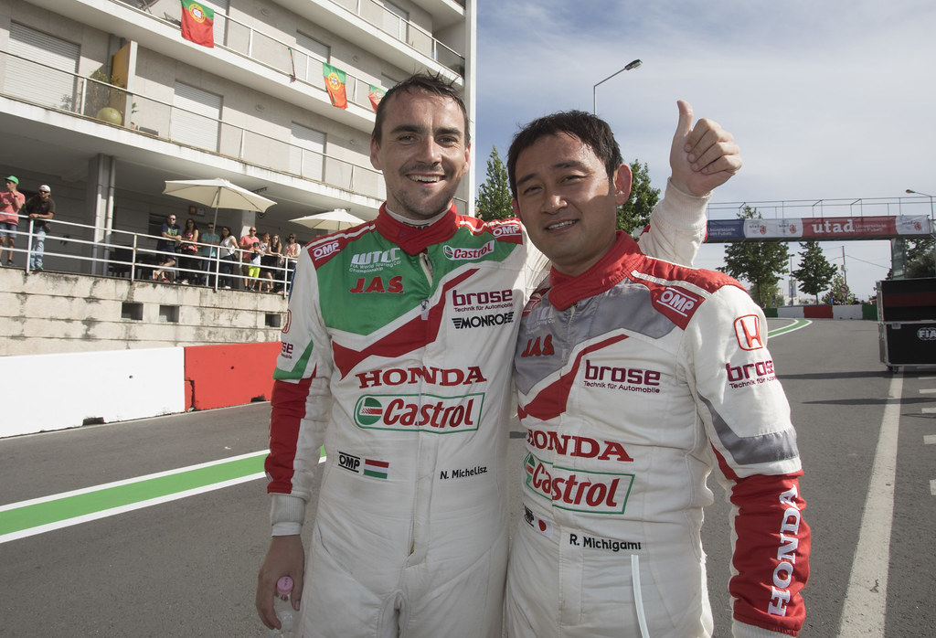 MICHIGAMI Ryo (jpn) Honda Civic team Honda racing team Jas ambiance portrait MICHELISZ Norbert (hun) Honda Civic team Castrol Honda WTC ambiance portrait during the 2017 FIA WTCC World Touring Car Championship race of Portugal, Vila Real from june 23 to 25 - Photo Gregory Lenormand / DPPI