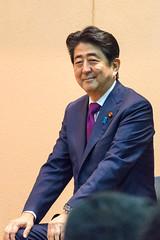 Sinzou Abe (prime minister of Japan, President of the Liberal Democratic Party (LDP)) speech at Asakusa?Taitou pref, Tokyo, Japan.