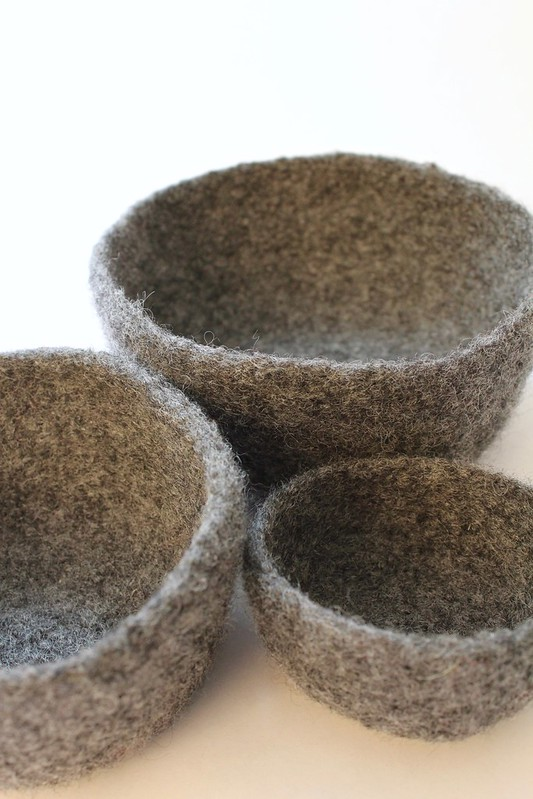 Set of 3 Felted Bowls