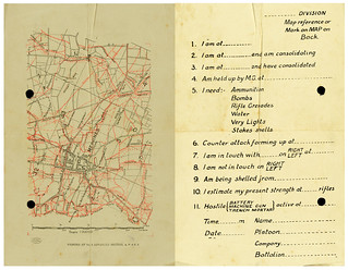Map of Messines and form for soldiers to fill