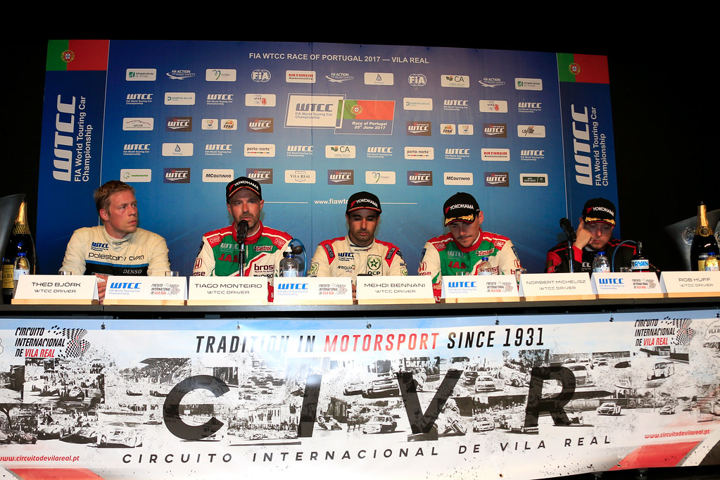 conference de presse press conference BJORK Thed (swe) Volvo S60 Polestar team Polestar Cyan Racing ambiance portrait MONTEIRO Tiago (prt) Honda Civic team Castrol Honda WTC ambiance portrait BENNANI Mehdi (mor) Citroen C-Elysee team Sébastien Loeb Racing ambiance portrait MICHELISZ Norbert (hun) Honda Civic team Castrol Honda WTC ambiance portrait HUFF Rob (gbr) Citroen C-Elysée team ALL-INKL.COM Munnich Motorsport ambiance portrait during the 2017 FIA WTCC World Touring Car Championship race of Portugal, Vila Real from june 23 to 25 - Photo Paulo Maria / DPPI