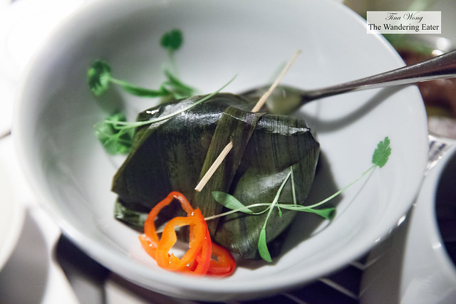 Poached and steamed cod in banana leaf