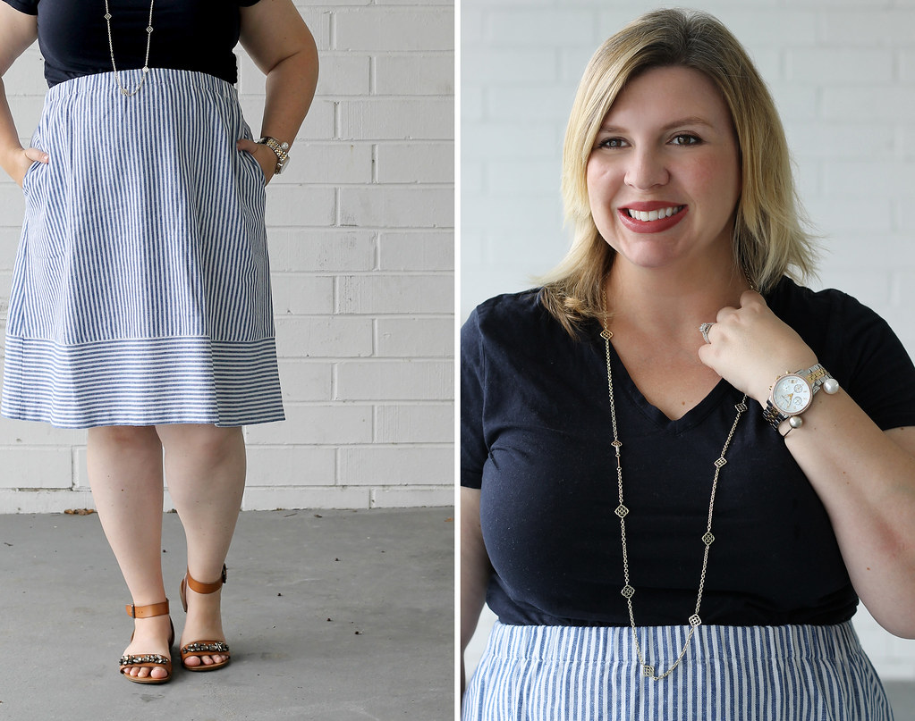 seersucker midi skirt and navy tee 2