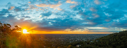 adelaide pano panorama panoramic view australia southaustralia sa city cityscape lookout image scene photo photography photogenic pic sun sunset sundown sky blue cloud clouds yellow orange olympus microfourthirds color colour vibrant olympusem10 olympusomd urban