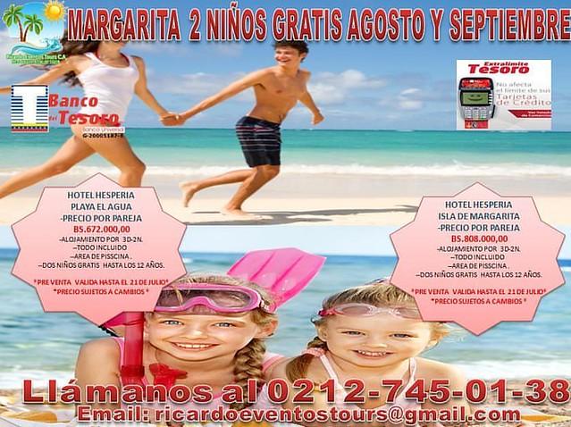 MEGA PROMOCIÓN DE REGALO NO LO DEJES PASAR!!!!*****HOTEL HESPERIA ISLA DE MARGARITA Y HOTEL HESPERIA PLAYA EL AGUA *****Mega Promoción para el mes de Agosto y Septiembre. Paquete con destino a la Isla de Margarita. 3días 2noches. Tarifa Por Pareja. Y 2 Ni