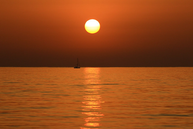 Sailing at sunset - Tel-Aviv beach