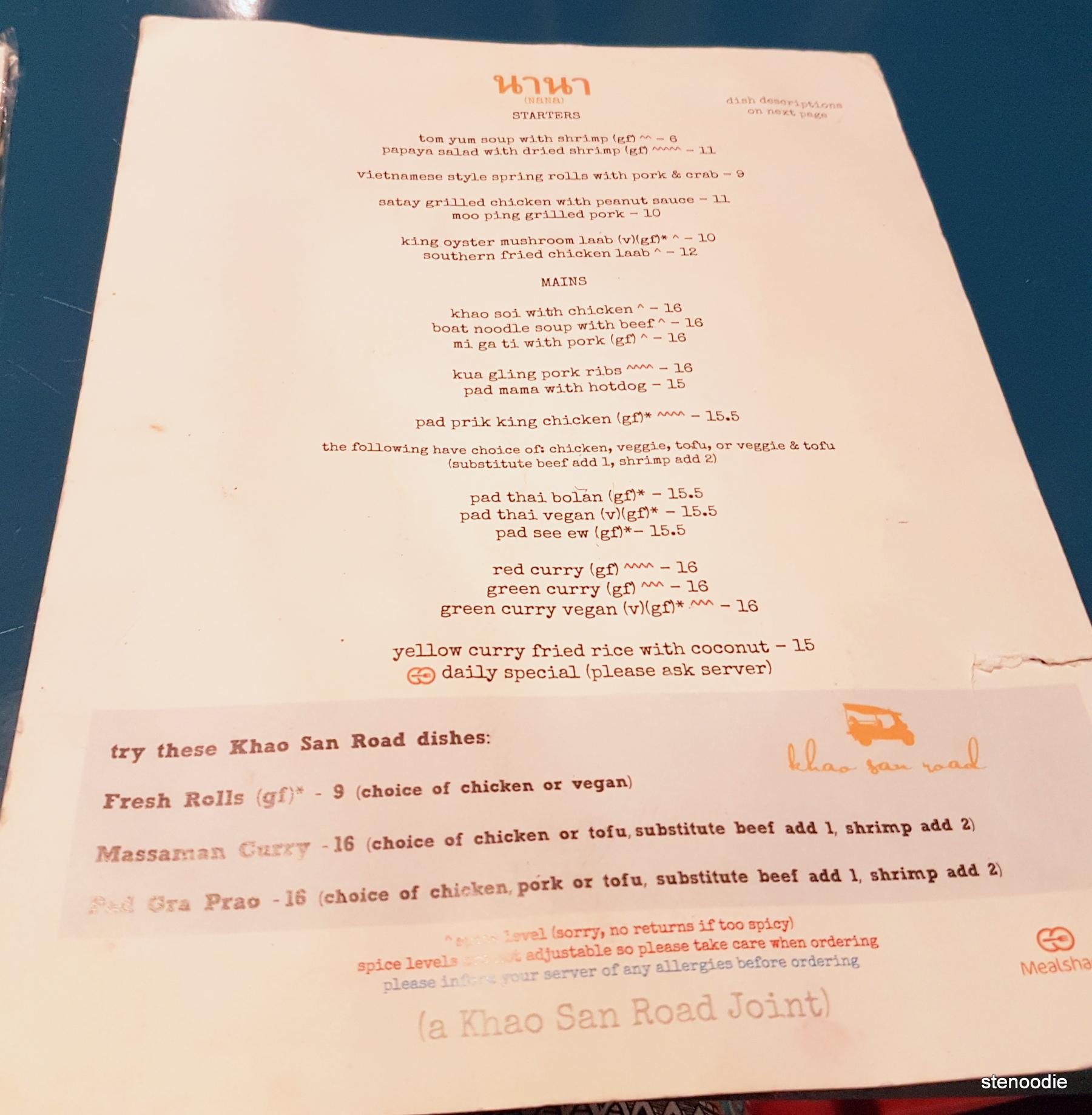 Nana Restaurant menu and prices