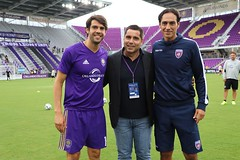 Kaka (attacking midfielder for Orlando City) Riccardo Silva (owner of Miami FC) and Alessandro Nesta (headcoach of Miami FC)