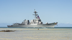 The future USS John Finn (DDG 113) arrives at Joint Base Pearl Harbor-Hickam, July 10. (U.S. Navy/MC1 Randi Brown)