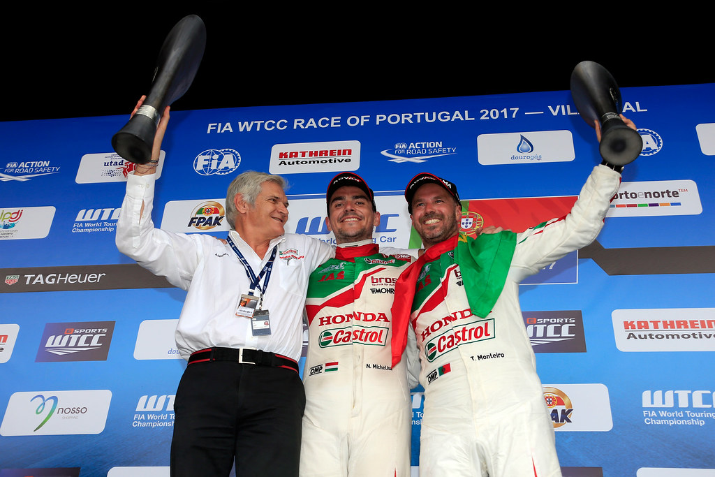 podium ambiance MARIANI Alessandro (ita) team Principal Honda Team Jas ambiance portrait MICHELISZ Norbert (hun) Honda Civic team Castrol Honda WTC ambiance portrait MONTEIRO Tiago (prt) Honda Civic team Castrol Honda WTC ambiance portrait during the 2017 FIA WTCC World Touring Car Championship race of Portugal, Vila Real from june 23 to 25 - Photo Paulo Maria / DPPI