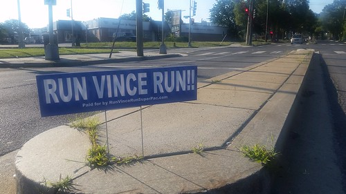Run Vince Run campaign sign, Blair Road NW, Washington DC