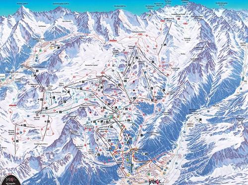 Ischgl / Silvretta Arena - mapa sjezdovek