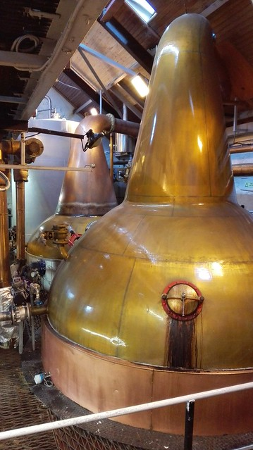 The two copper stills of Balblair distillery, quite different from those at Glenmorangie, where they are much higher....