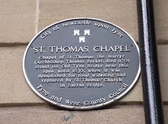 Photo of St Thomas Chapel, Newcastle black plaque