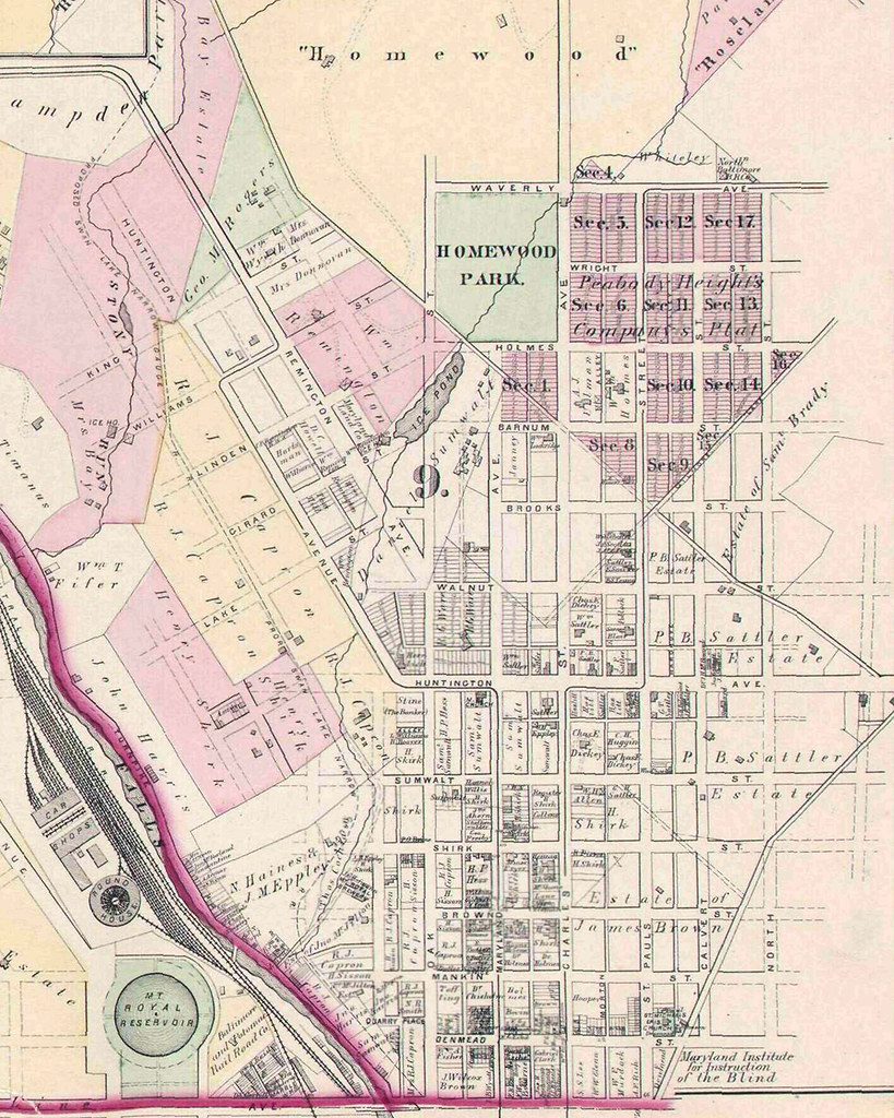Map showing the developed and undeveloped areas of central Baltimore
