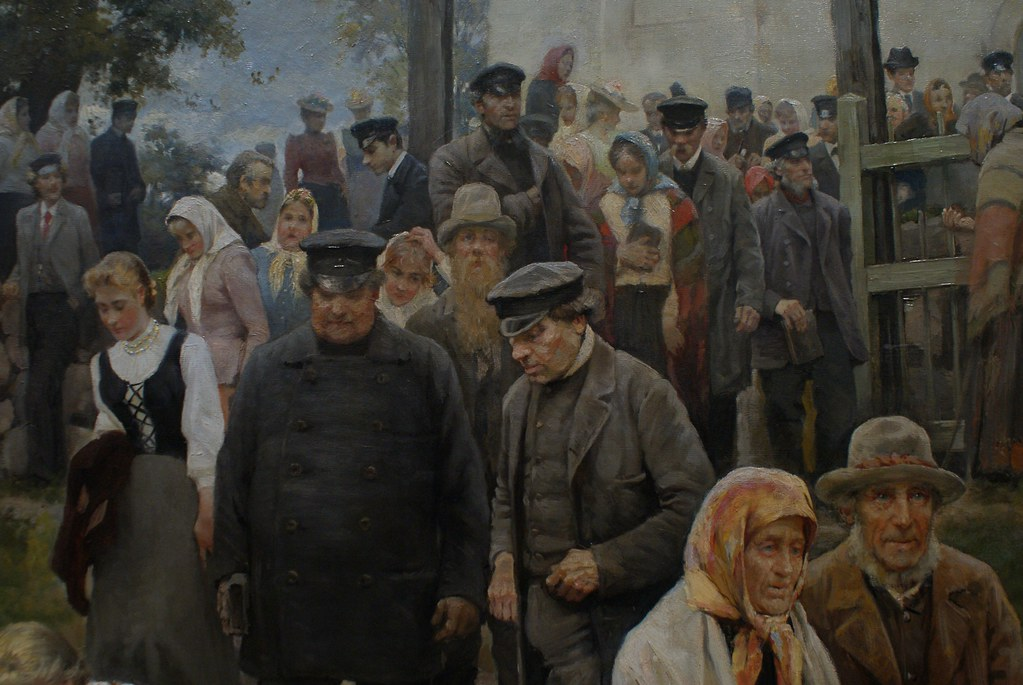 """Janis Rozentals """"A la sortie de l'église (après le service)"""" (1894) - Musée National d'art de Lettonie"""