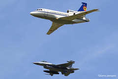 Formation F-16AM FA-132 with Dassault Falcon 900B CD-01