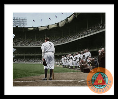 Babe Ruth The Sultan Of Swat Retires At Yankee Stadium Colorized Framed Print