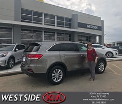 Congratulations Janice on your #Kia #Sorento from Antonio Page at Westside Kia!