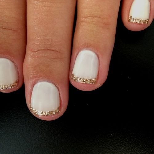 DIY Ideas Nails Art : White base nail color with pretty gold tips...https://diypick.com/beauty/diy-nails-art/diy-ideas-nails-art-white-base-nail-color-with-pretty-gold-tips/