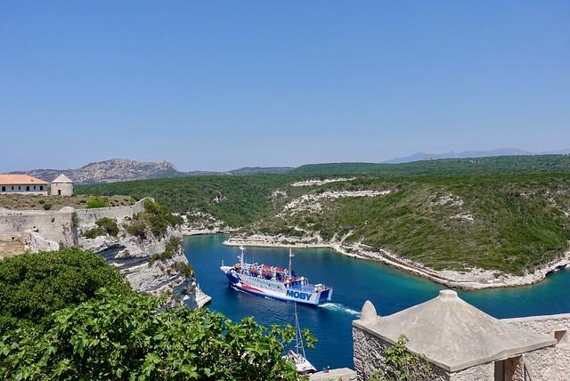 Watching the ferry to Sardinia depart Bonifacio