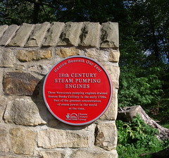 Photo of Steam Pumping Engines, Heaton Banks Colliery and Heaton Banks Colliery red plaque