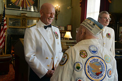 "Adm. Scott Swift greets Pearl Harbor survivor Mickey Ganitch during a ""Dining Out"" event to commemorate the 75th anniversary of the Battle of Midway, June 3. (U.S. Navy/MC1 Omari K. Way)"
