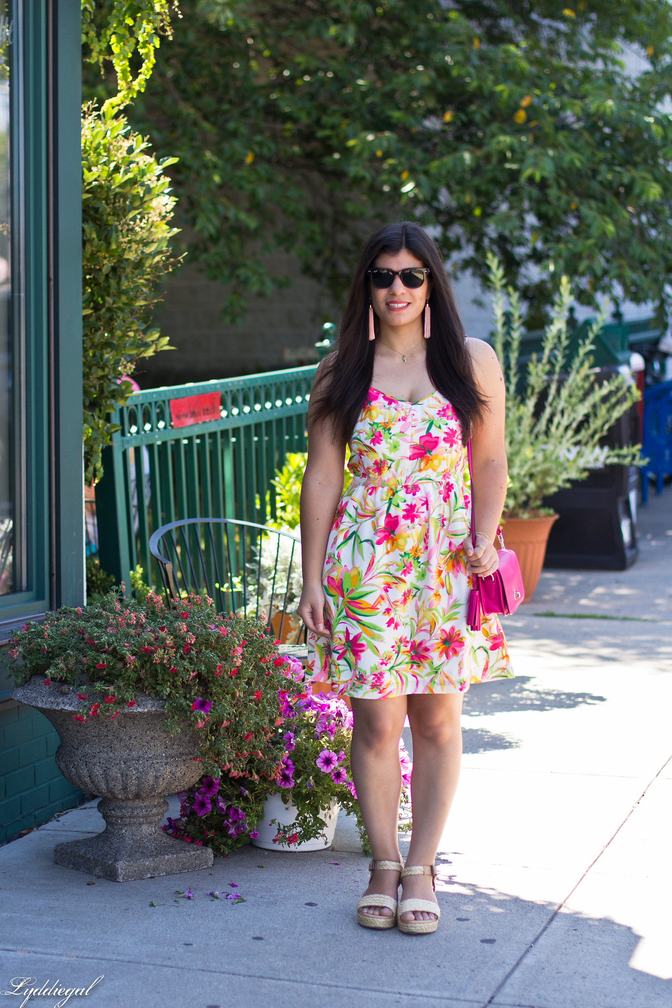 floral cami dress, pink coach bag, platform espadrilles.jpg
