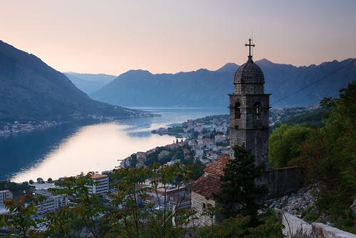 kotor montenegro evening city historic crnagora bokakotorska boka church old bay fiord sunset mountains