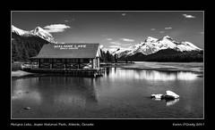 Maligne Lake with Samson Peak (L), Boathouse, Monkhead Mountain, Mt. Warren, Valad Peak, Mt. Henry MacLeod, Mt. Charlton and Mt. Unwin (R), Jasper National Park