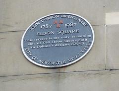 Photo of John Dobson and Eldon Square, Newcastle upon Tyne black plaque