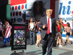 Times Square, NYC, 06/24/17: man dressed as Donald Trump, a new addition to the costumed characters who pose for photos with tourists for tips (IMG_5162)