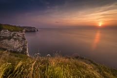 White cliffs in sunset