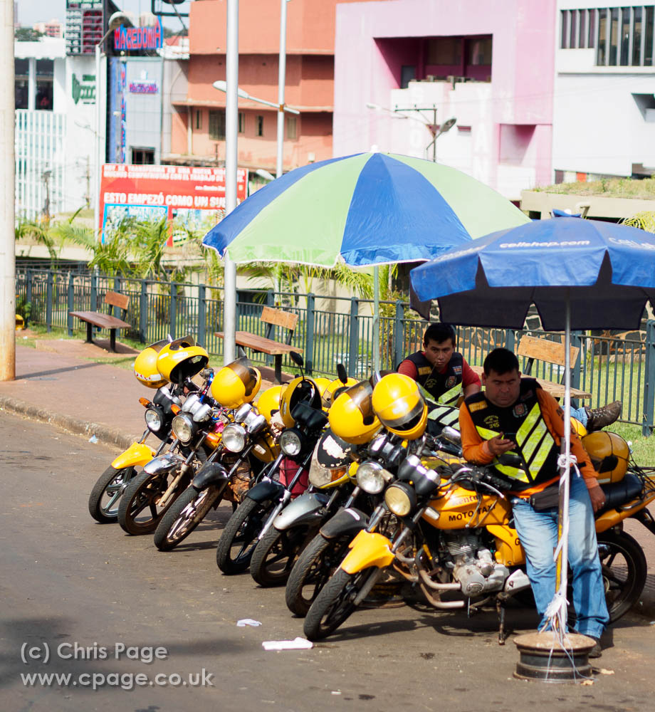 Motorbike taxis line up ready