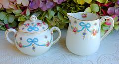 Vintage Crown Staffordshire Porcelain Sugar & Creamer ~ Blue Bow