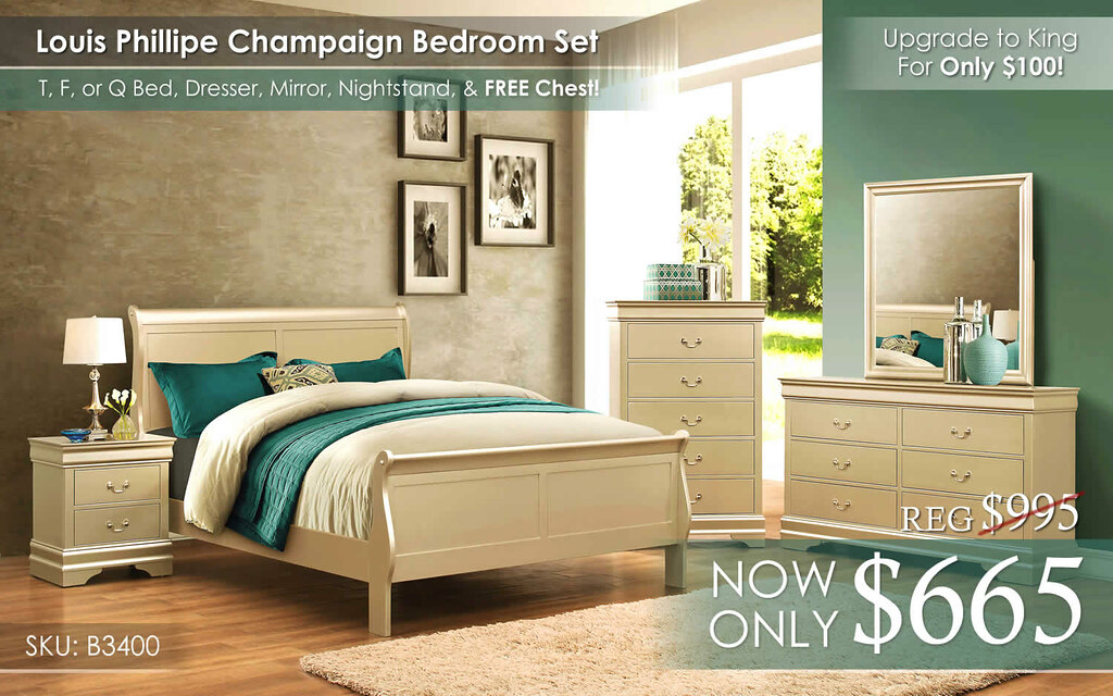 Louis Phillipe Champagne Bedroom Set B3400