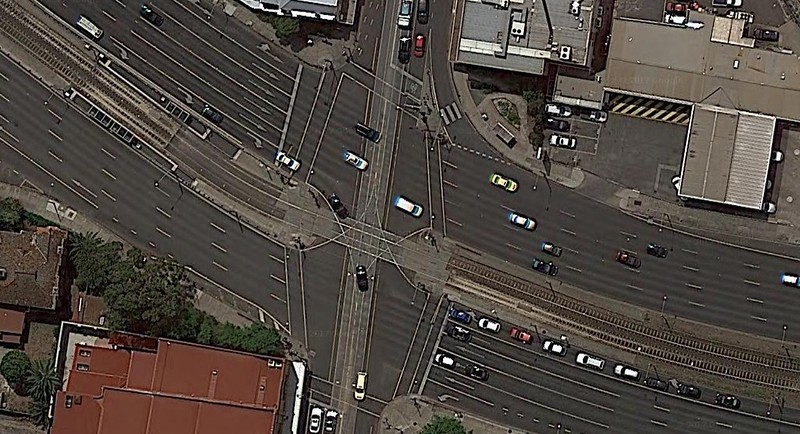 Google Maps satellite view, Dandenong Road and Chapel Street intersection