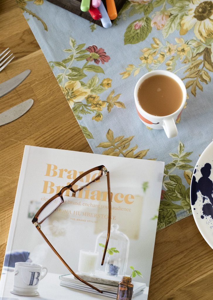 Breakfast and books with glasses