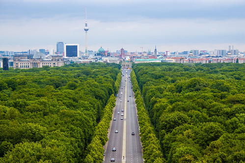 View from the top of the Siegessäule to Reichstag and Brandenburg Gate