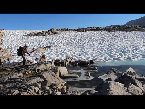 613 Video of a small boulder being thrown into a pond covered with a thin coating of ice