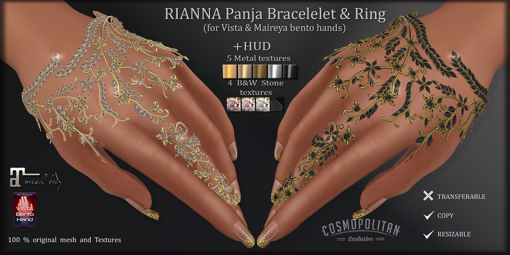 AvaWay RIANNA Panja BRACELET & Ring  (for VISTA & MAITREYA bento hands )
