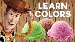 Learn Colors with Woody from Toy Story Making Ice Cream with Candy