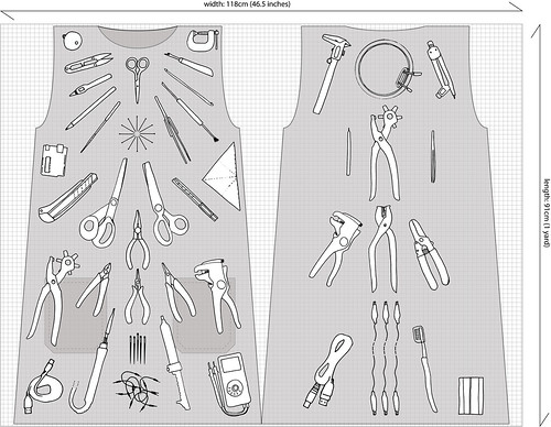 Tool pinafore fabric pattern - first sketch