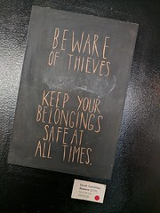 Beware of Thieves, sign, Fix Coffee, Shoreditch, London, UK