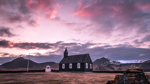 iceland landscape sunset travel pink landmark sky countryside budir architecture church red westernregion is onsale