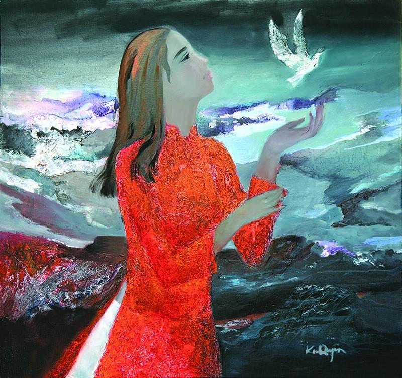 """Triển lãm tranh của các nữ họa sĩ ba miền - Chủ đề: """" Sắc hoa Bắc Trung Nam """" 2"""