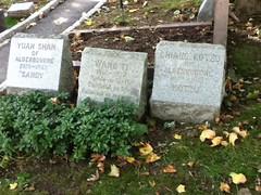 Sandy, Wang Ti and Kotzu at Hartsdale Pet Cemetery.