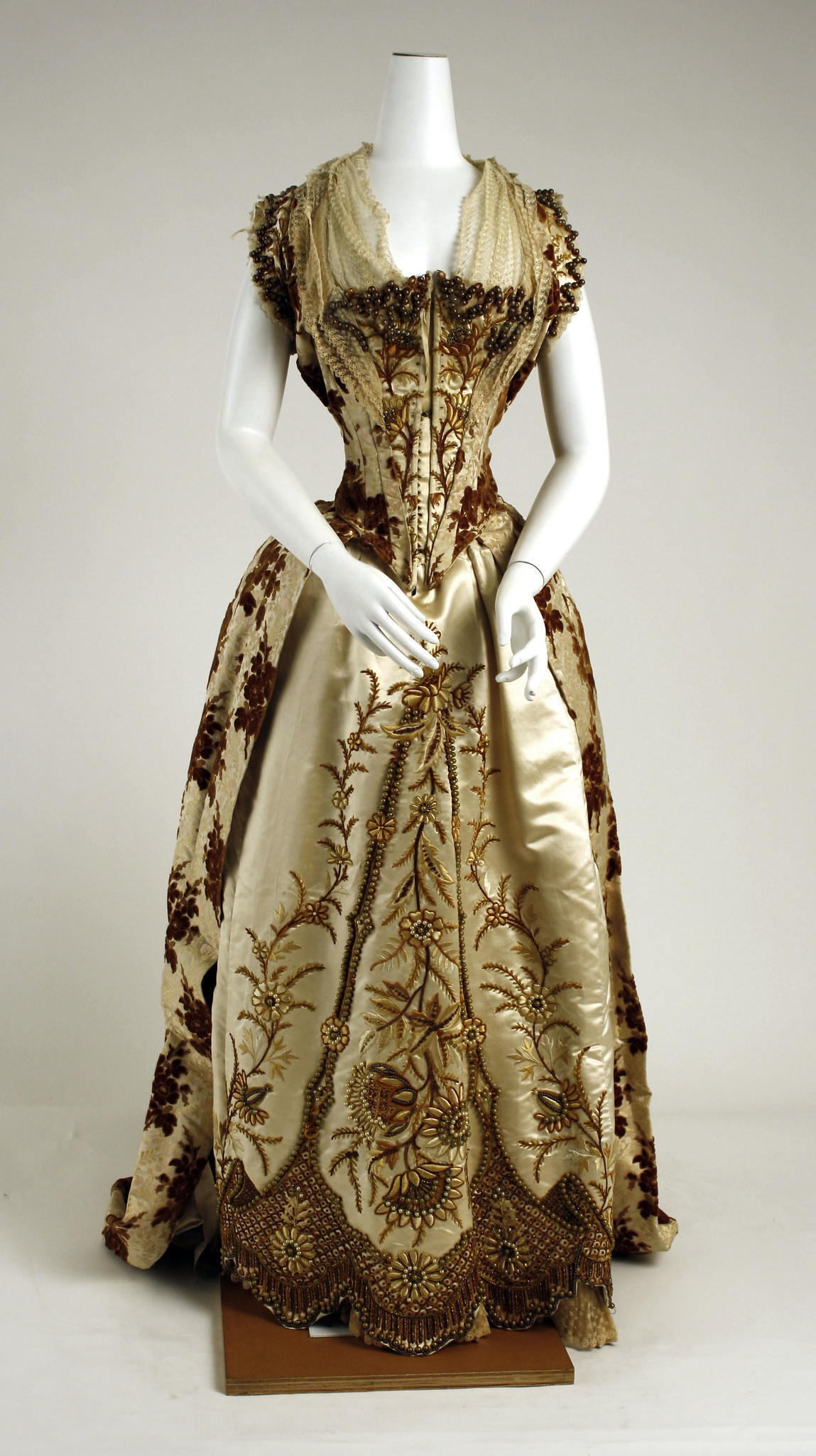 1887. French. Silk, Glass. metmuseum