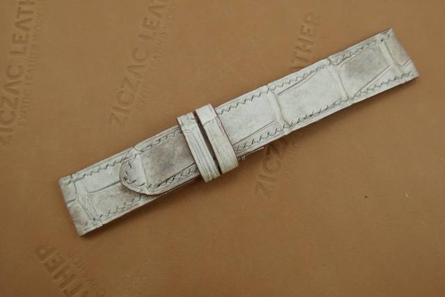 719bc5e09c7 22mm Himalayan Brown Genuine Crocodile Skin Watch Strap Handstitched ...